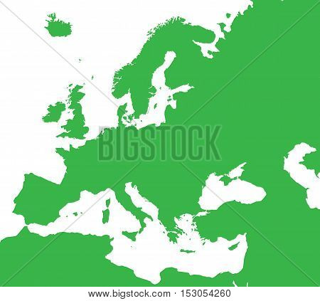 Green color Europe silhouette on white background, vector illustration