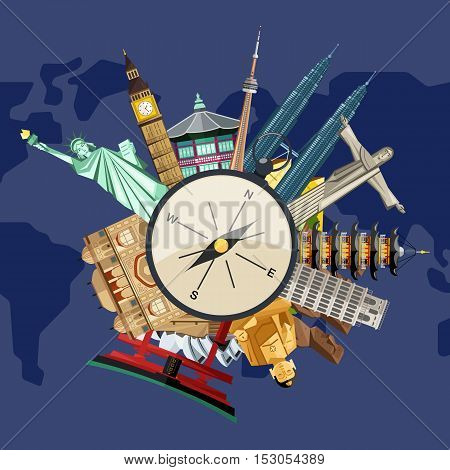 Worldide travel and tourism concept flat vector. Famous world buildings. World travel landmark and famous travel place. Vacation travel architecture in cartoon style. World travel background. Travel tour banner. Travel background for traveling agency.