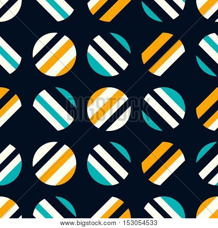 Retro seamless pattern on dark background. Vector illustration. Turquoise, and yellow abstract wallpaper. Geometric pattern with circles