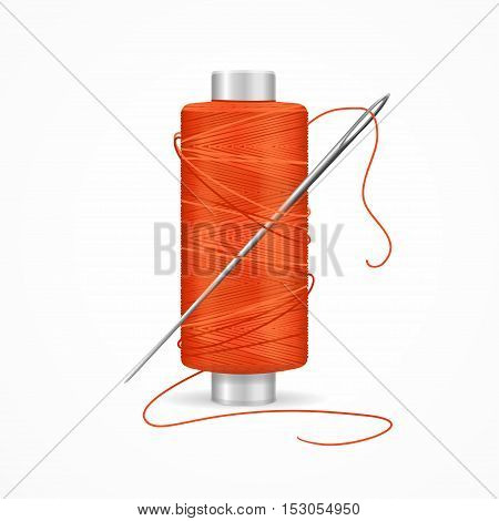 Thread Spool Red. Reel and Needle. Vector illustration