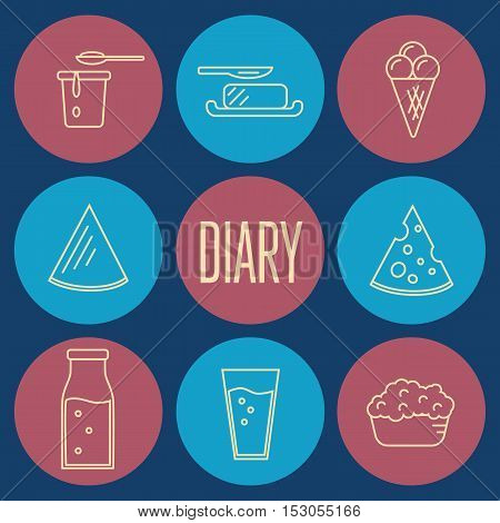 Dairy round icons set in line style design, vector illustration. Milk products symbols on color background. Traditional healthy products. Organic milk farming. Organic food and dairy product concept. Milk product icon. Cartoon dairy product. Dairy icon.