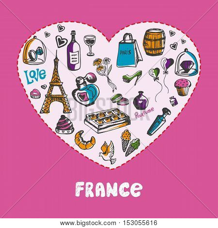 Love France. White heart filled with vintage doodles related with french culture background vector illustration. Memories about European journey. France parfume icons. Travel to France symbol concept. Discover France. Cartoon France icon.