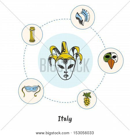 Attractive Italy. Carnival mask colored doodle surrounded mask, gladiator helmet, antique column, gapes hand drawn vector icons. Italian cultural, nature, historical symbols. Italy masqurade icons. Travel to Italy symbol concept. Discover Italy.