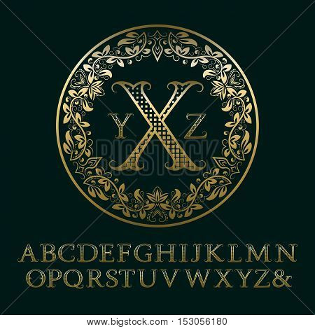 Tendrils gold letters with initials monogram. Baroque style font for logo design. Isolated english vintage alphabet.