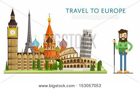 Welcome to Europe travel background. Europe travel landmark and famous travel place. World traveling concept flat vector. Famous Europe buildings. Europen architecture in cartoon style. Europe. World travel background. Travel banners. Travel to Europe