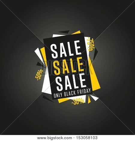 Black Friday sale black sticker vector isolated. Discount or special offer price sign on Black Friday. Sale banner. Promo offer on black friday. Special offer sale sticker. Discount tag on Black Friday. Special offer black friday banner.