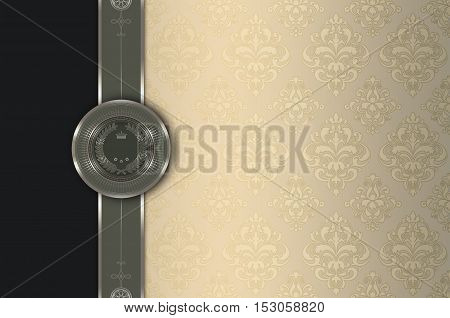 Decorative background with elegant borader and old-fashioned patterns.