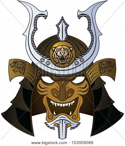 Samurai mask and helmet. Kabuto and Hoate. Vector art of traditional japanese warrior head.