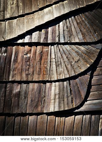 abstract background or texture Detail of wooden shingle roof with a tilde