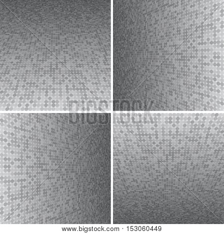 Set Abstract Dotted Halftone Effect Vector Background. Perspective Halftone Vector Background. Vector Background with Copy-Space. Grey Perspective Background. Vector illustration for Web Design.