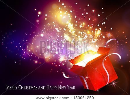 Christmas background with open red box with stars and confetti and fireworks