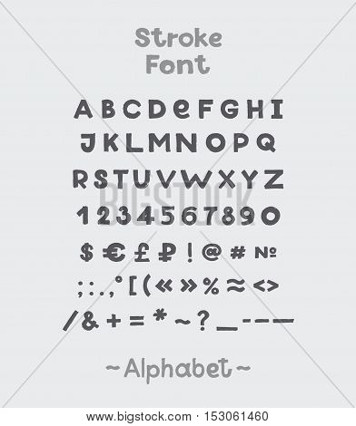 Alphabet. English Sloppy Fat Stroke Font Letters. Capital letters
