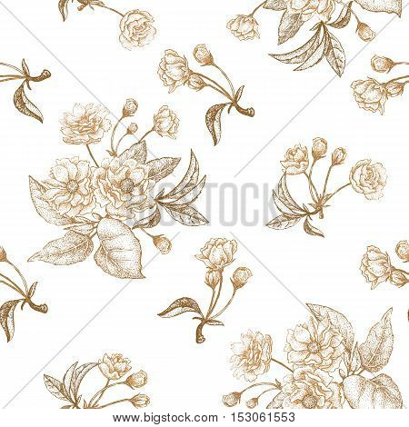Gold embroidery on a white background. Vector illustration based on the Chinese luxury fabrics. Hand drawing of a flowering plum tree flowers branches and leaves. Vintage.