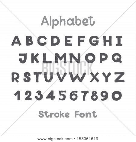 Alphabet. English Sloppy Fat Stroke Font Letters. Capital letters and numbers