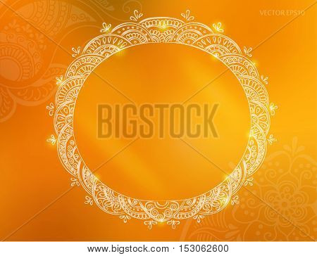 Vector round tattoo henna frame. Background for design