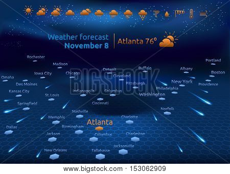 Weather forecast US cities on interactiv map set of icons vector illustration