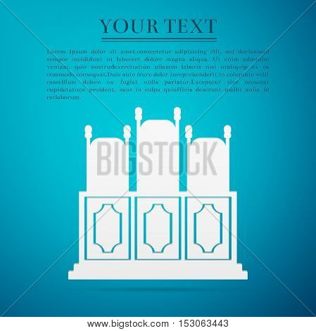 Courts room with table, chairs flat icon on blue background. Vector Illustration