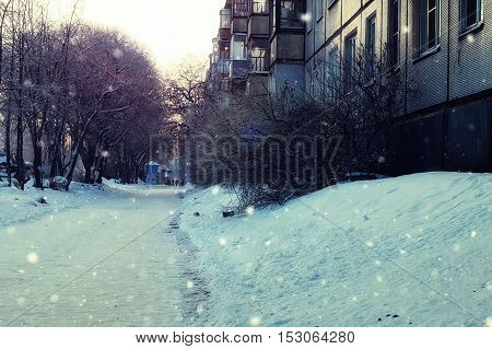 urban landscape on a sunny winter day, walkways and streets