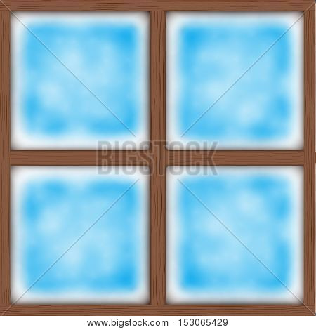 Frosted window. Ice on glass. Square wooden window. Vector Illustration Isolated on background