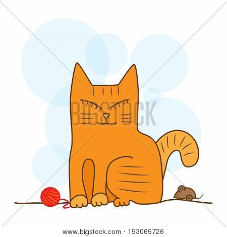Orange cat sitting with his eyes closed and unwound the tangle red. Cat playing the mouse.