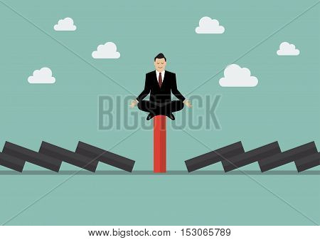 Businessman meditating on unique red domino tile among falling black dominoes. Be different concept