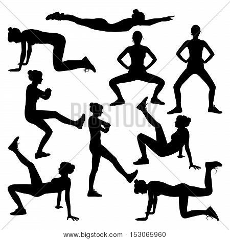 Vector silhouette of a girl trains on white background.Exercises to tighten the thighs and buttocks.