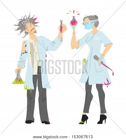 Isolated mad scientists on white background. Female and male professors in whites with laboratory equipment.