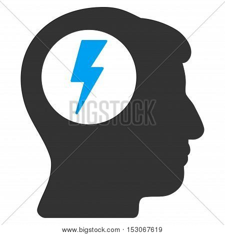 Brain Electric Shock glyph pictogram. Style is flat graphic bicolor symbol, blue and gray colors, white background.