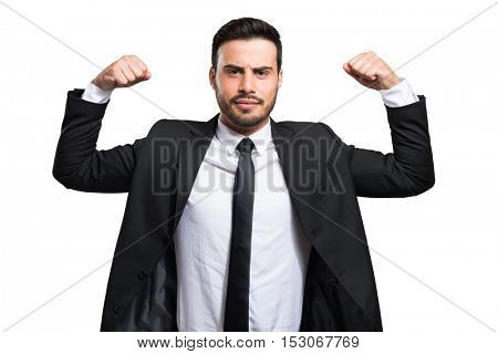 Businessman isolated on white showing muscles