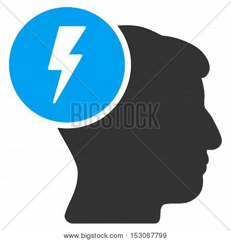 Brain Electricity glyph icon. Style is flat graphic bicolor symbol, blue and gray colors, white background.