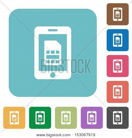 Mobile simcard flat icons on color rounded square backgrounds