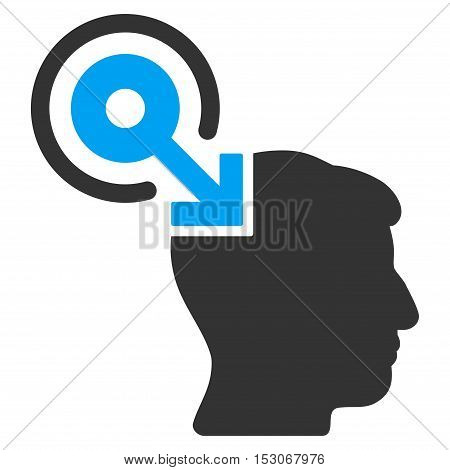 Brain Interface Plug-In glyph pictograph. Style is flat graphic bicolor symbol, blue and gray colors, white background.