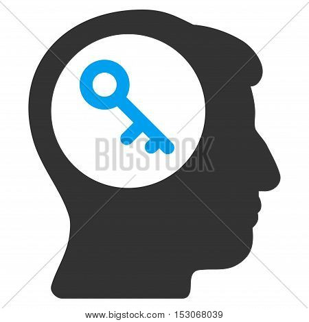Brain Key glyph pictograph. Style is flat graphic bicolor symbol, blue and gray colors, white background.