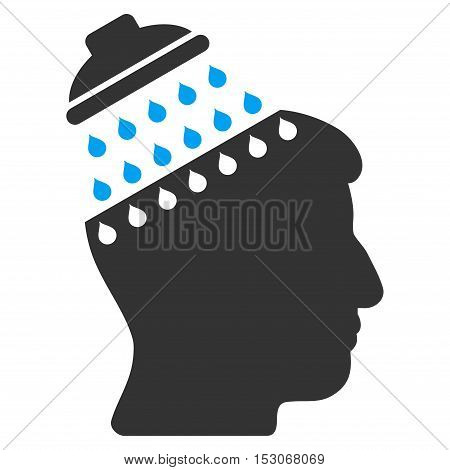 Brain Shower glyph pictograph. Style is flat graphic bicolor symbol, blue and gray colors, white background.