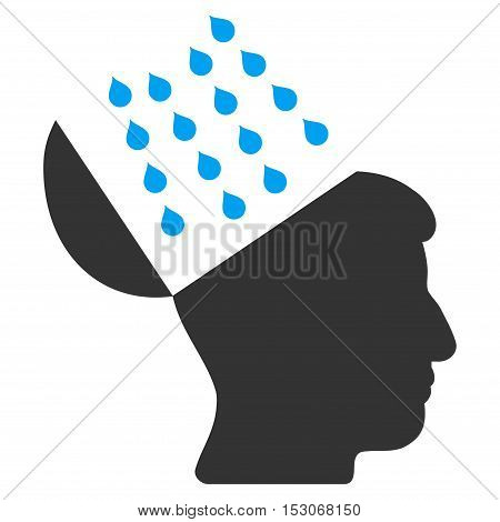 Brain Shower glyph icon. Style is flat graphic bicolor symbol, blue and gray colors, white background.