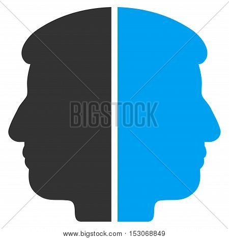 Dual Face glyph pictograph. Style is flat graphic bicolor symbol, blue and gray colors, white background.