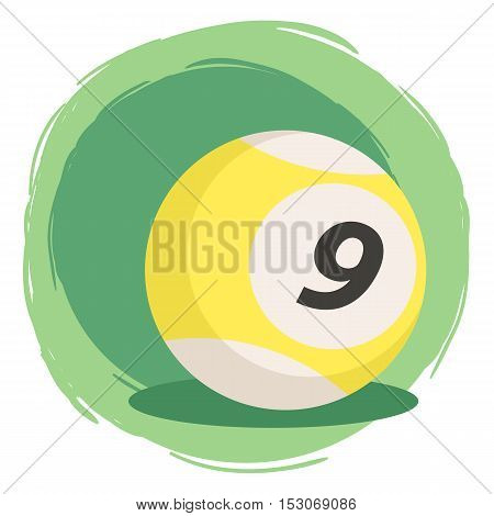Billiard ball number nine 9 with striped color yellow and white isolated on green white background vector illustration.