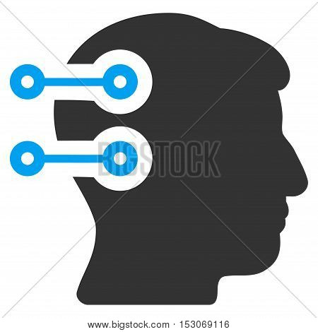 Head Connectors glyph pictograph. Style is flat graphic bicolor symbol, blue and gray colors, white background.