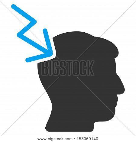 Head Electric Strike glyph pictogram. Style is flat graphic bicolor symbol, blue and gray colors, white background.