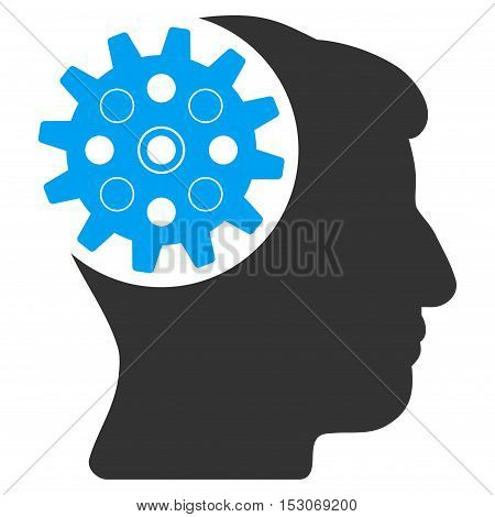 Head Gear glyph pictograph. Style is flat graphic bicolor symbol, blue and gray colors, white background.