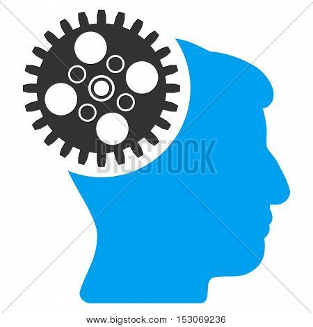 Head Gearwheel glyph pictograph. Style is flat graphic bicolor symbol, blue and gray colors, white background.