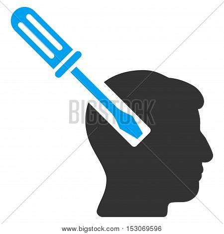 Head Screwdriver Tuning glyph icon. Style is flat graphic bicolor symbol, blue and gray colors, white background.