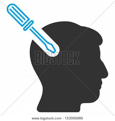 Head Surgery Screwdriver glyph pictograph. Style is flat graphic bicolor symbol, blue and gray colors, white background.
