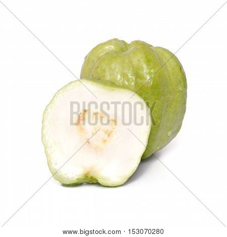 Guava Fruit And Half Piece Isolated On White Background