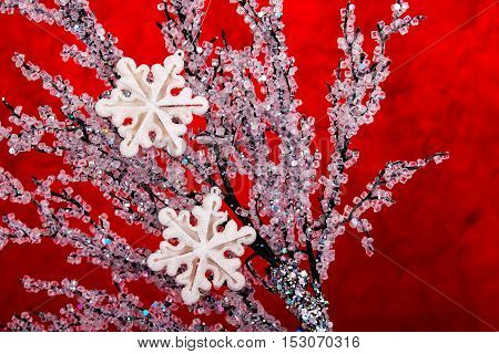 Christmas decorations on red background . decorative