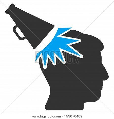 Megaphone Impact Head glyph pictograph. Style is flat graphic bicolor symbol, blue and gray colors, white background.
