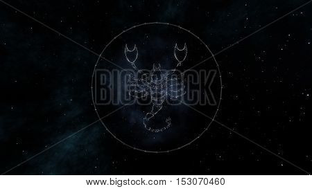Scorpio zodiac sign of the beautiful bright stars on the background of cosmic sky. Stars and symbol outline on a dark sky background. Zodiac signs. Horoscope. Astrology sign.