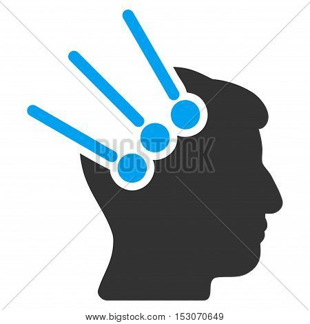 Neural Interface Connectors glyph pictogram. Style is flat graphic bicolor symbol, blue and gray colors, white background.