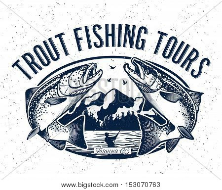 Vintage Trout and Salmon Fishing Emblem. Vector Illustration