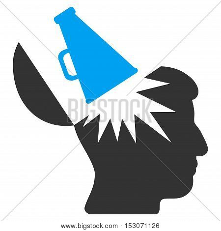 Open Brain Megaphone glyph pictogram. Style is flat graphic bicolor symbol, blue and gray colors, white background.